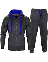 Love My Fashions Mens Tracksuit Set New Contrast Cord Fleece Hoodie Top  Bottoms Jogging Zip Joggers e1256a6da2a6