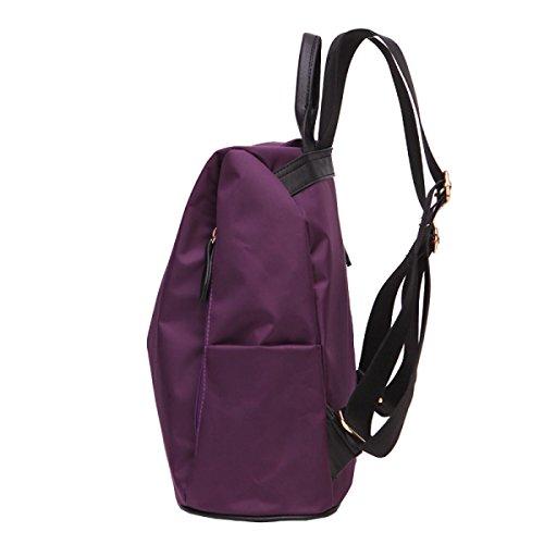 BAAFG Frauen Verteidigung Casual Tasche Einfache Nylon Schultertasche Mode Reise Rucksack Purple