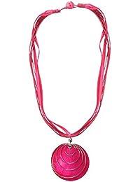 Hals-Kette mit Muschel-Anhänger Halsschmuck, viele Farben, Farbe:pink