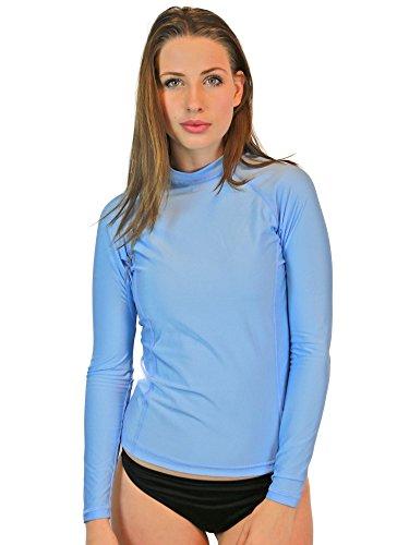 Schwimmshirts für Damen - UV 50 Sonnenschutz Langarm Rashguard Badeanzug Tops mit LSF Hautschutz, Damen, hellblau, XX-Large