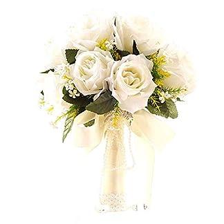 Blanco de Novia con Flores Novia Ramo Mano Que sostiene la Cinta Hermosa con sede Artificial Flores de Novia de la Boda
