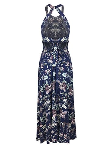 Futurino Women Floral Halter Crochet Open Back A-line Split Maxi Dress Multicolore