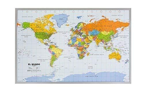 Mapa Político del Mundo sobre Respaldo de corcho