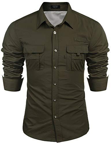 Safari Kostüm Adventure - Burlady Herren Hemd Regular Fit Langarm Einfarbiges Hemd Shirt für Männer Khaki Grau Grün