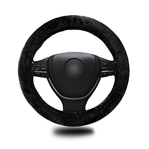 Zento Deals imitation peau de mouton Stretch-on véhicule Housse de volant Noir classique de voiture de roue Protector