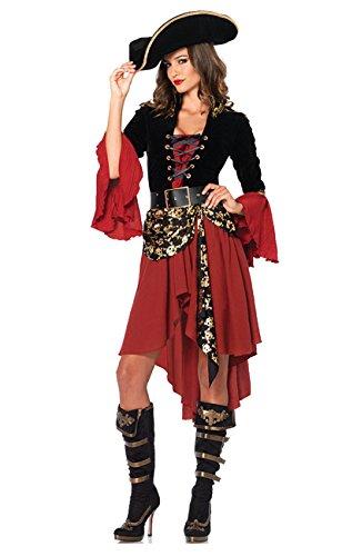ShallGood Damen Rotkäppchen Halloween Weihnachten Performance Kleid Hoodie Schal Kostüm Pirat Hexe Cosplay Dress Kleid Passt Set Zombie Ghost Kleid Dress Pirat Rot One Size (De 34-40)