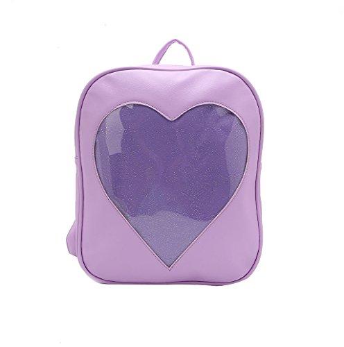 Dairyshop Adatti le ragazze delle ragazze Kawaii trasparente Love Heart Shape dello zaino sveglio del sacchetto della scuola (Verde chiaro) Viola
