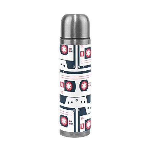 COOSUN Estilo Retro Cassette patrón de la Cinta de Acero Inoxidable Frascos de Agua Botella de vacío de la Taza aislada a Prueba de Fugas de la Botella Doble vacío, Viajes PU Taza térmica, 17 oz 17