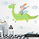Vinilos para niños - El dragón mágico y el caballero. Verde - T1 - Pequeño