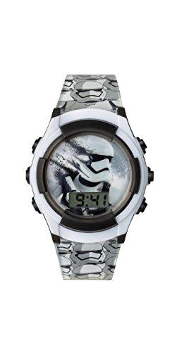 Reloj digital de Star Wars para niño con esfera blanca, pantalla digital y correa de plástico negro SWM3069