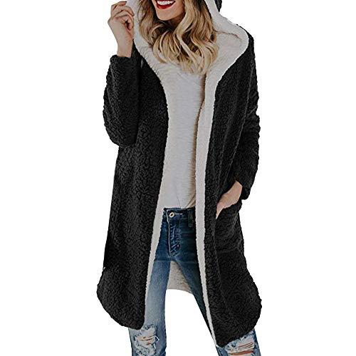 AMUSTER Damen Outwear Plüsch Hoodie Wolle Hoodie Winter Plüschmantel mit Kapuze Mantel Langärmelige Einfarbige Strickjacke Jacke mit Taschen Warmen Winter