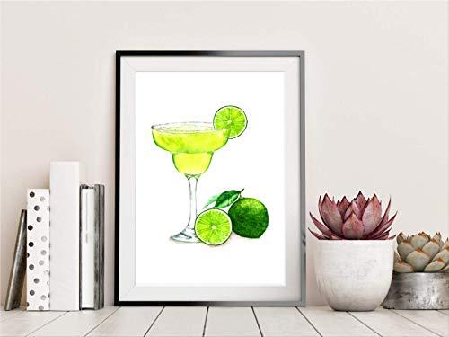 Din A4 Kunstdruck Cocktails Caipirinha Mojito Spirituosen Alkohol modern Geschenk Druck Poster Deko Bild