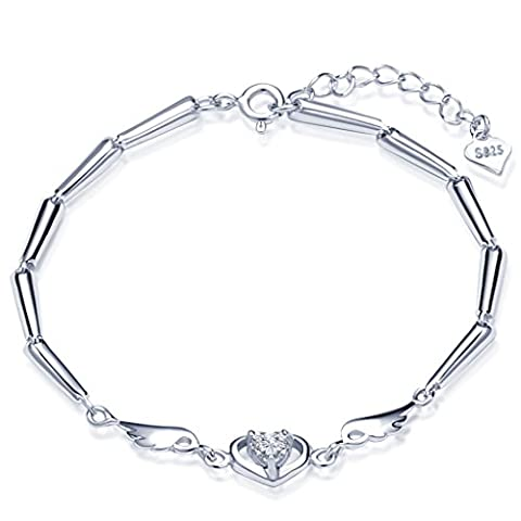 Infinite U Unique 925 Sterling Silver Cubic Zirconia Womens Link Charm Bracelet Heart Angel Wings Hand Chain with Extension,