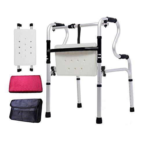 L-Y Klappsitz Gehhilfe Badewanne Vier Fuß Zuckerrohr Ältere Behinderte Gehhilfe Aluminiumlegierung Doppelhandlauf Rad Assistent 46Cm × 52Cm × 74Cm Ältere Rollstuhl -