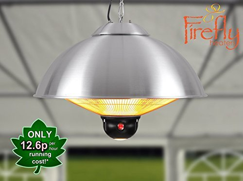 Firefly 2.1kW Ceiling Mounted Silver Halogen Electric Infrared Garden Outdoor Patio Heater - Three Heat Settings with Remote Control