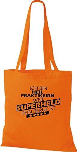 Shirtstown Sac en tissu Ich bin Naturopathe, parce que Superheld aucun Occupation ist Orange