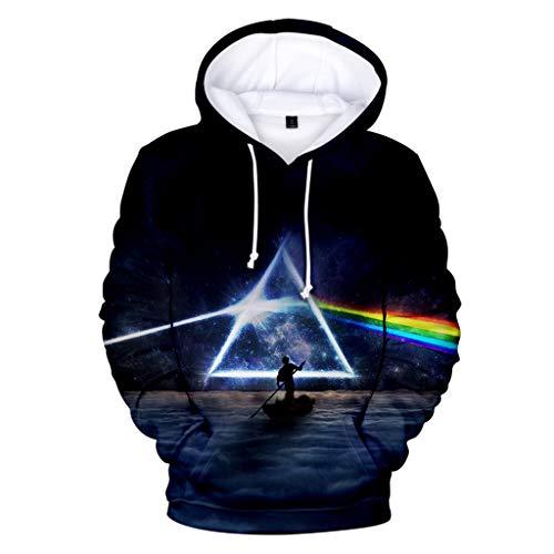 XXW Sudaderas 3D Pink Floyd Impreso Suéter con Capucha De Mantel Mit Großen Taschen Für Männer Frauen Langarm Capucha Sudaderas Cuello Redondo