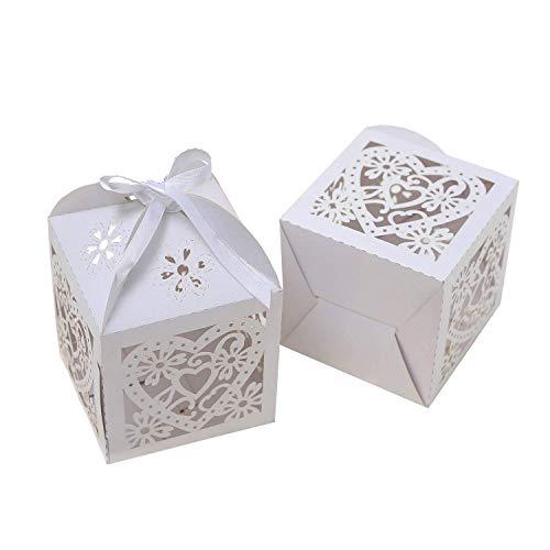 25pcs 10 x 10cm taglia la scatola di caramella del nastro di favore della cerimonia nuziale del partito della carta della perla scatola grande del regalo di formato per  (cuore dell'amante)