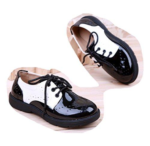 Ohmais Enfants Filles Chaussure cérémonie Ballerines à bride Fête Demoiselle d'honneur Mariage Escarpin à petit talon noir blanc