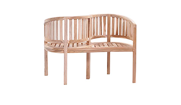 vidaXL Solid Teak S-shaped Bench 120x51x85cm Outdoor Garden Patio Chair Seat