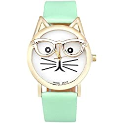 WINWINTOM Cute Glasses Cat Wrist Watch Blue