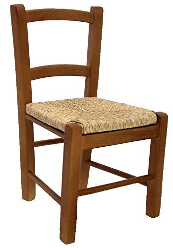 Adami sedia per bambini in legno seduta impagliata noce