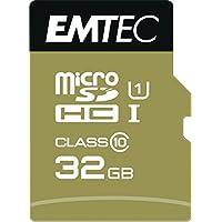 Emtec microSD Class10 Gold+ 32GB Memoria Flash MicroSDHC Clase 10 - Tarjeta de Memoria (32 GB, MicroSDHC, Clase 10, 85 MB/s, Negro, Oro)