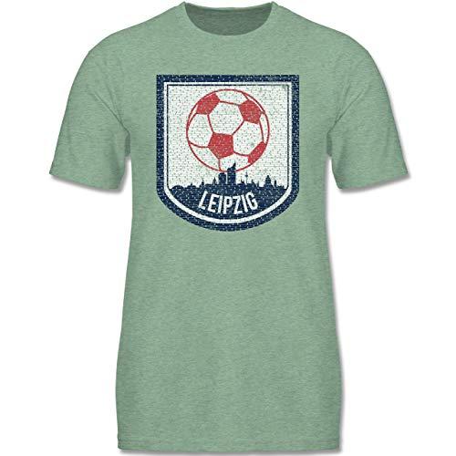Sport Kind - Fußball Leipzig - 110-116 (5-6 Jahre) - Türkis meliert - F140K - Jungen T-Shirt
