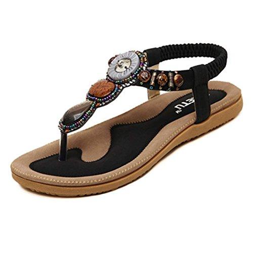 Sandalias Mujer Verano,Moda de Las Mujeres Dulces Abalorios Clip Toe P
