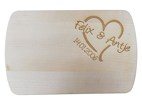 HC-Lasergravur Gravierte Frühstücksbrettchen Holz   Motiv Brettchen Vesperbrett Spruch personalisiert   Vesperbretter Brettchen aus Holz Gravur individuell für Hochzeit   Brettchen mit Name graviert