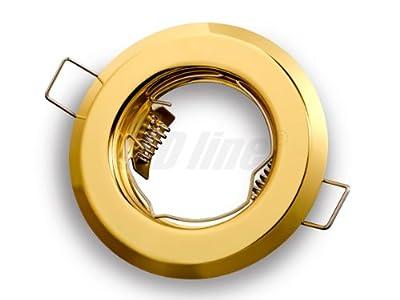 Einbaustrahler, LED und Halogen Einbauspot Spot Rund Metall Gold ideal für LED Lampen + GU10 Fassung, LEDLine von LEDLine - Lampenhans.de
