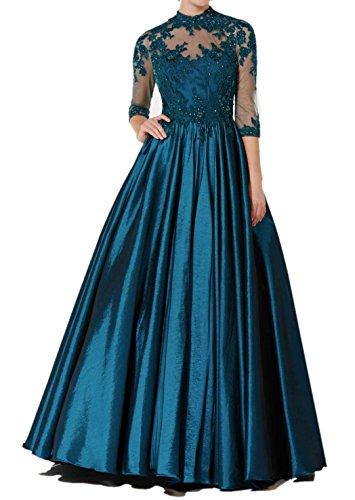 Charmant Damen Navy Blau Hochwertig Spitze Langarm Satin Abendkleider Ballkleider Abschlussballkleider A-linie Navy Blau