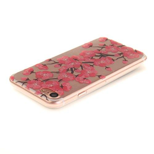 Meet de Slim de Protection Téléphone Case pour Apple iPhone 7, Apple iPhone 7 Bumper Case Coque, Apple iPhone 7 Slim TPU Transparent Silicone Housse Etui pour Apple iPhone 7 - black Flower fleur de pêche