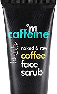 mCaffeine Naked & Raw Coffee Face Scrub, 100 g | Vitamin E | Tan Removal | Oily/Normal Skin | Paraben &