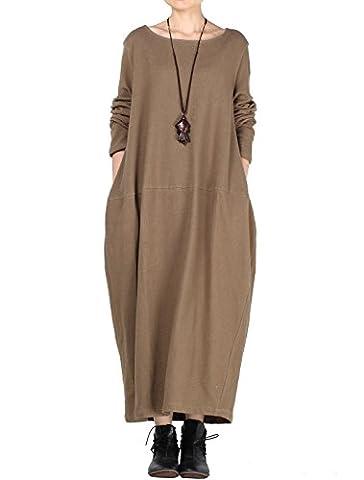 Vogstyle Femmes Nouveau Automne Col Rond Grand Hem Pull Robe Style 2 Café léger