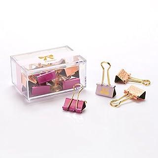 Alohha bunte Metall-Binder Clip Fashion Modeling Druck-Stil Foldback Clips Weihnachten Briefpapier gesetzt für Weihnachtsgeschenke 12pcs (Pink-25MM)