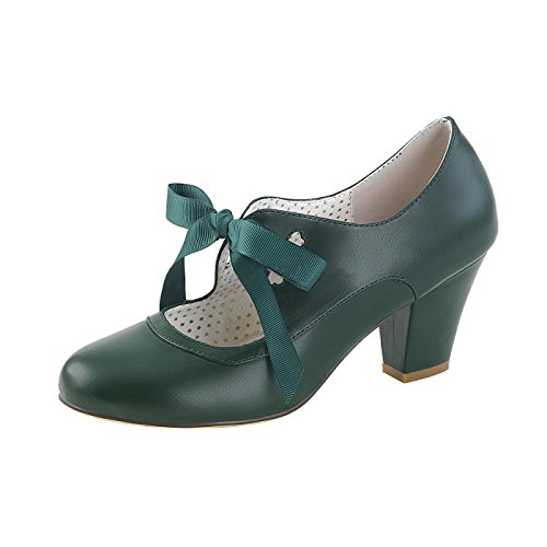 Pin Up Couture Mary Jane Pumps Cuben Heel aus dunkelgrünen veganen Leder WIGGLE-32 Grün, EU 40