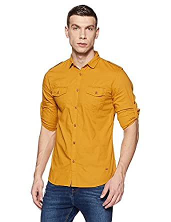 Jack & Jones Men's Solid Slim Fit Cotton Casual Shirt (1964099005_12133413_Amber Gold_Small)