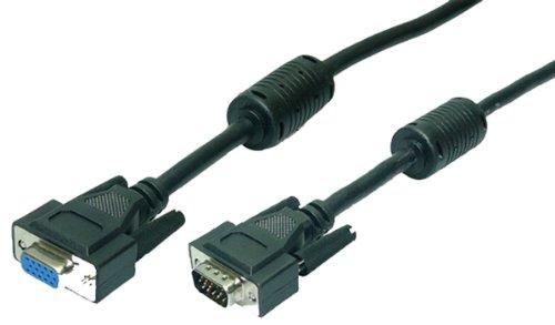 LogiLink VGA Monitor Verlängerungskabel 10m HD DSUB 15-pin(männlich/weiblich, 2-fache Abschirmung, Ferritkern) schwarz -