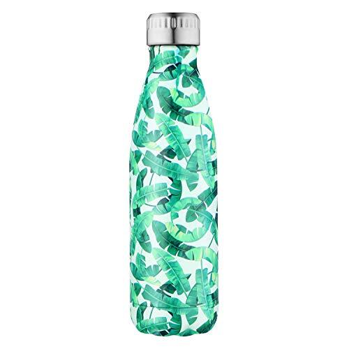 Sept miracle sept miracolo tenere caldo e freddo in acciaio inox colorato water bottle thermos ermetica doppia parete tazze di sport (500 ml) (foglia verde più)