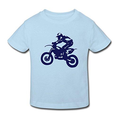 Spreadshirt Biker Cross Enduro Kinder Bio-T-Shirt, 134/140 (9-10 Jahre), Hellblau