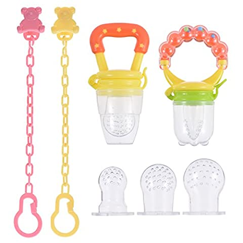 PChero 2pcs Baby Feeder Pacifiers - One with Ringing Handgrip - with Pacifier Clips and 3 Silicone Nipples Replacement
