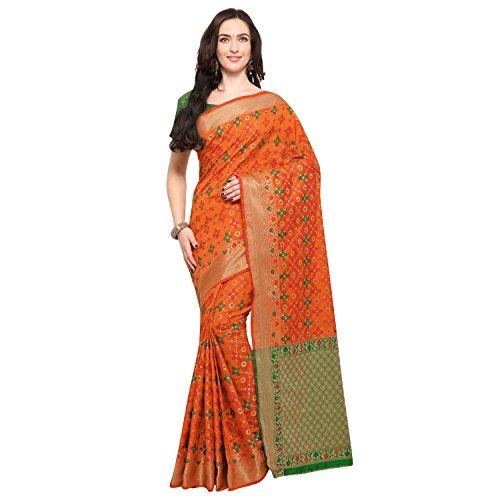 Janasya Women's Mustard Silk Patola Saree With Unstitched Blouse (SR037-10548-MUSTARD)