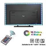 LED TV Retroilluminazione, Yizhet 2 m TV LED 5050 RGB Retroilluminazione Striscia, USB Alimentato Strisce LED Multicolore con Telecomando, 16 Colori e 4 Modalità per TV HD da 40-60 pollici