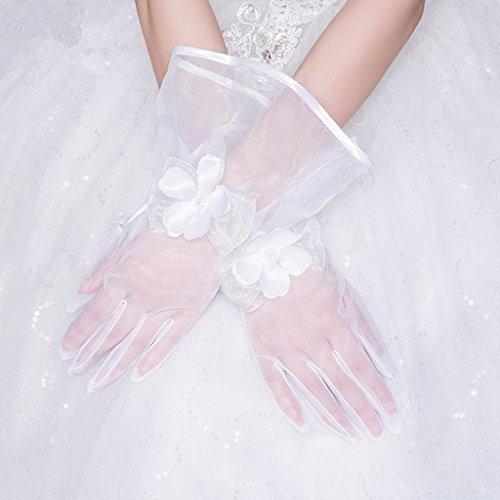wgwioo Kurze Weiße Schleier Bogen-Knoten Blume Bridal Perle Hochzeit Handschuhe Party , White