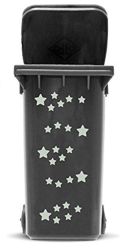 *Domus House Signs Mülltonnen Aufkleber Set: Sterne – 41 Sternaufkleber in Zwei Größen (4,5cm und 2,5cm) zum Dekorieren Ihrer Mülltonne oder Anderen glatten Oberfläche, Schriftfarbe:Silber*