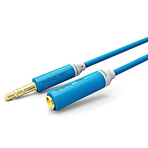 Shengwei 1M Blue Premium Audio Cable 3.5mm Male to Female Stereo Aux Gold Platerd-Cable