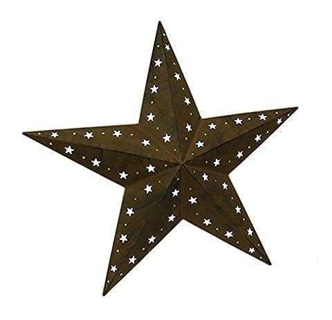 Rustic Brown Metal Barn Star Cosmic Cutout Indoor/Outdoor Wall Hanging 35 (Folk Primitive Decor)