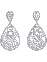 Shaze Rhodium-Plated Estella Silver Earrings For Women | Earrings For Girls | Earrings For Women Stylish | Fancy...