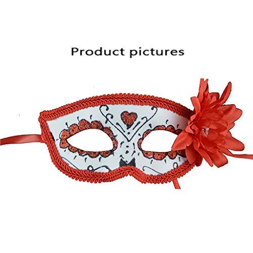 Maskerade Mask Women 's Sexy Red Glitter Kostüm Augenmaske Mit Blumen Venezianische Maske für - Glitter Womens Kostüm